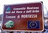 cartello della Comunità Montana delle Valli del Nure e dell'Arda a Morfasso